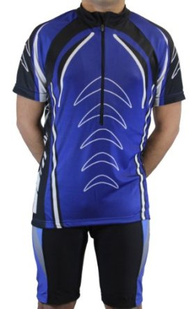 Men's Sublimated Print Race Cut Short-Sleeve Biking Cycling Jersey (Large, Blue)