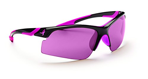 New Balance Ribbon Performer Sunglasses, Shiny Black with Pink Rubber, Wrap