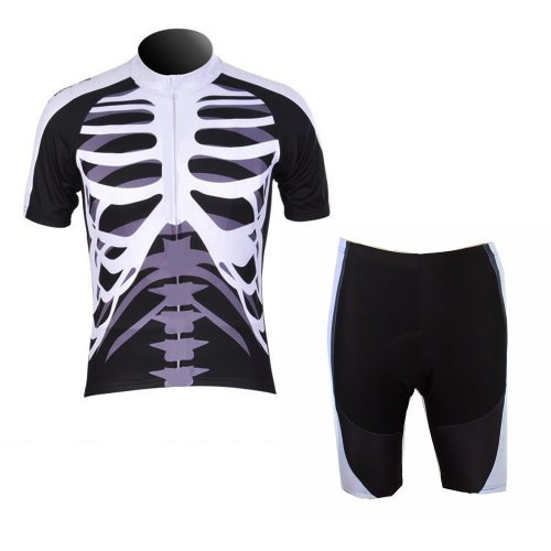 WOLFBIKE Men Cycling Jersey Bicycle Bike Cycle Short Sleeve Jersey Jacket Comfortable Breathable Shirts Tops, 3D Cushion Padded Shorts Tights Pants Sportswear Suit Set Breathable Quick Dry Black White. NOT USA Size, Please See the Size Chart Image before Ordering