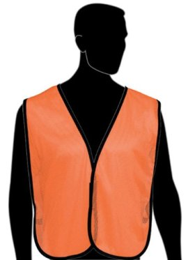 Liberty HiVizGard Polyester General Purpose Plain Mesh Vest, Fluorescent Orange (Pack of 6)