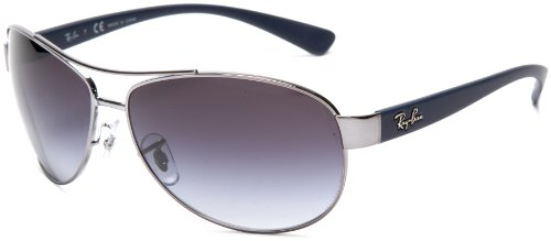 Ray-Ban RB3386 Bubble Wrap Aviator Sunglasses 63 mm, Non-Polarized, Blue/Grey Gradient