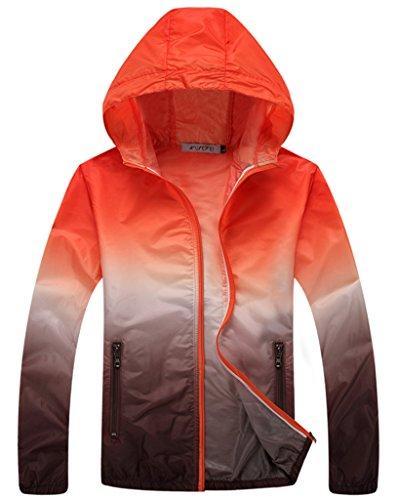 Z-SHOW Womens Super Lightweight Jacket Quick Dry Windproof Skin Coat-Sun Protection (Orange Brown,XXL)