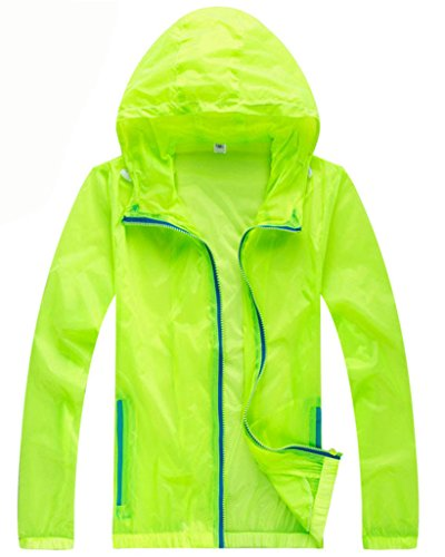 Z-SHOW Womens Super Lightweight Jacket Quick Dry Windproof Skin Coat-Sun Protection (Fluorescent Green,S)