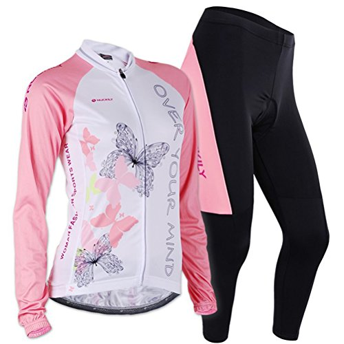 Sponeed Women's Cycle Jersey Bike Clothing Gel Padded Long Sleeve Butterfly Size S US Pink