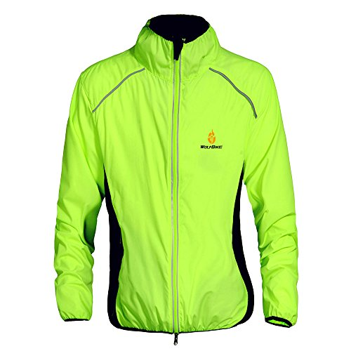 WOLFBIKE Cycling Jacket Jersey Sportswear Long Sleeve Wind Coat, Color: Green, Size: S