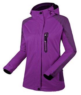 Cloudy Hooded Waterproof Jacket Softshell Women Sportswear(Dark Purple,US 2XL/Asian5XL)