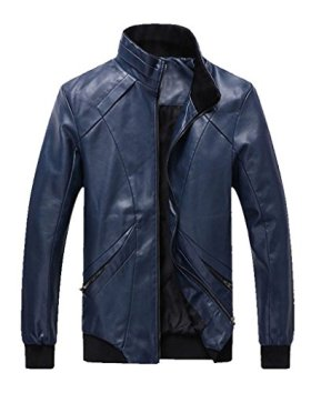Z-SHOW Men's Casual PU Leather Jacket(Dark Blue,XL)