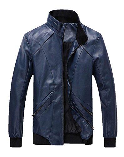 Z-SHOW Men's Casual PU Leather Jacket(Dark Blue,XL)