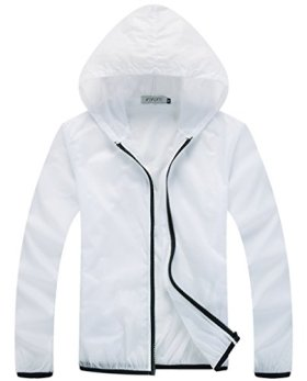 Z-SHOW Womens Super Lightweight Jacket Quick Dry Windproof Skin Coat-Sun Protection (White,XL)