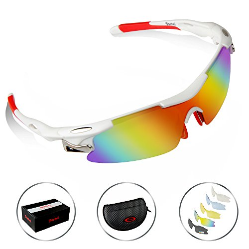 POSHEI P04 Polarized UV Protection Sports Glasses for Men or Women , Cycling Wrap Sunglasses with 5 Interchangeable Lenses Unbreakable , for Riding Driving Fishing Running Golf and Outdoor Activities (White&Red)