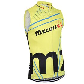 Mzcurse Men's Team Mountain Bike Cycling Short Shirt Jersey Shorts Suit Kit Set (Yellow Vest, Medium,please check the size chart)