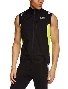 GORE BIKE WEAR Men's Element Windstopper Active Shell Vest, Large, Black/Neon Yellow