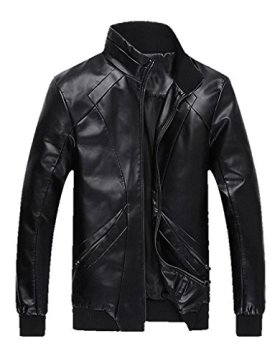 Z-SHOW Men's Add Wool Leisure PU Leather Jacket,US – Large/ASIAN – 2XL,Black Wool