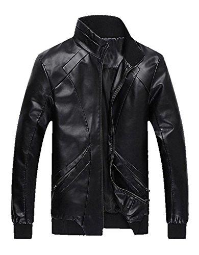 Z-SHOW Men's Add Wool Leisure PU Leather Jacket,US – Large/ASIAN – 2XL,Black Wool