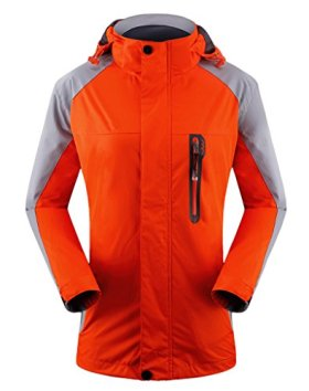 Cloudy Hooded Waterproof Jacket Softshell Women Sportswear(Orange,US XL/Asian4XL)