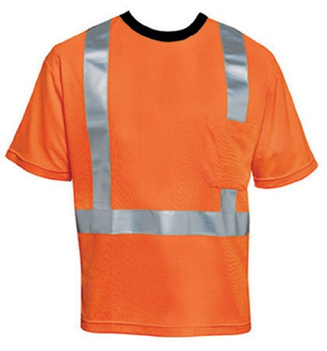 Liberty HiVizGard Polyester Open Weave Mesh Class 2 T-Shirt with 2″ Wide Silver Reflective Stripes and 1 Pocket, Small, Fluorescent Orange