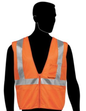 Liberty HiVizGard Polyester All Mesh Fabric Class 2 Safety Vest with 2″ Wide Silver Reflective Stripes and 1 Pocket, 7X-Large, Fluorescent Orange