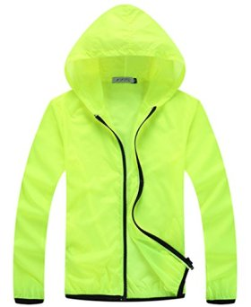 Z-SHOW Womens Super Lightweight Jacket Quick Dry Windproof Skin Coat-Sun Protection (Fluorescent Green,XXL)
