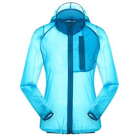 Women's Outdoor Anti UVA UPF 30+ Waterproof Quick-dry Thin Windbreaker Jackets Sapphire Blue CN Tag 2XL – US L