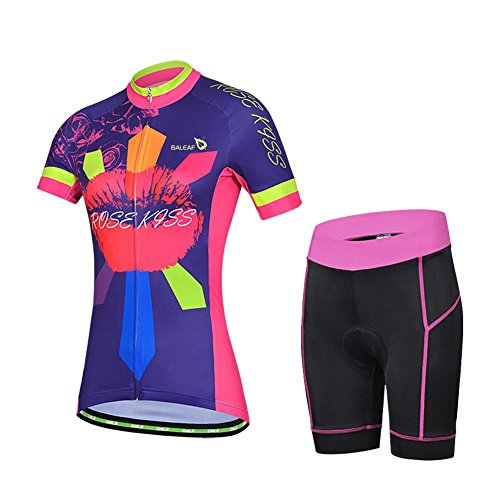 Baleaf Women's Short Sleeve Cycling Jersey 3D Padded and Shorts Set Rose Kiss Style Size S