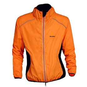 WOLFBIKE Cycling Jacket Jersey Sportswear Long Sleeve Wind Coat, Color: Orange, Size: XXL