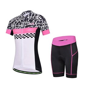 Baleaf Women's Short Sleeve Cycling Jersey 3D Padded and Shorts Set Doodle Style Size XL