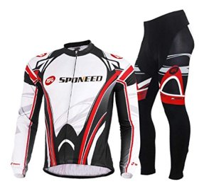 Sponeed Men's Bicycle Jersey Polyester and Lycra Set Long-sleeved Victory Size M US White Red