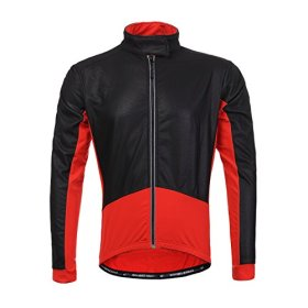 Long Sleeve Thermal Barrier Cycling Biking Windproof Firewall Winter Jacket (Medium, Red)