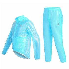WOLFBIKE Waterproof Cycling Jacket Jersey Raincoat Pants Superlight, Fluorescent Blue, Size XXXL