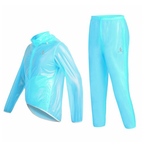 WOLFBIKE Waterproof Cycling Jacket Jersey Raincoat Pants Superlight, Fluorescent Blue, Size XXXL