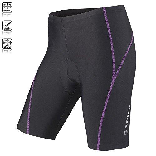 Tenn Ladies Viper 8 Panel Padded Cycling Shorts – Black/Radiant Orchid – 10