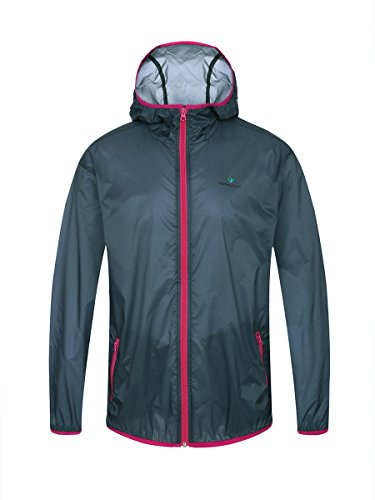 Somewhere Men's Ultra Lightweight Jacket,Breathable UPF 50+ Portable Packable Cycling Hiking Windbreaker (XL, BLUE INDIGO+red)