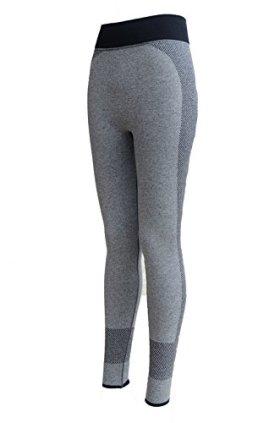 Eddie International(TM)Women's Outdoor Leggings Sports Running Tights Cotton Fitness Workout Pilates Active Yoga Pants (S, black+light gray)