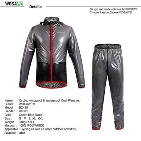 WOLFBIKE NEW Raincoat Rain Jacket Windproof Waterproof Cycling Raincoat, Gray, Size XL