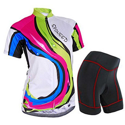 Sponeed Women's Cycle Jersey Bike Clothing Gel Padded Racing Short Sleeve Size M US Multi