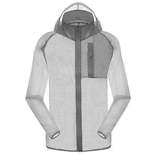 Men's Outdoor Anti UVA UPF 30+ Waterproof Quick-dry Thin Windbreaker Jackets Grey CN Tag 2XL – US L