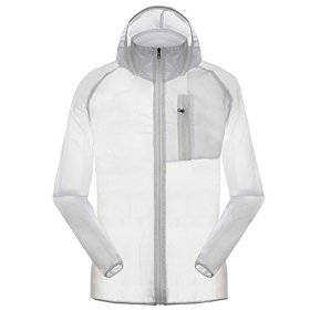 Men's Outdoor Anti UVA UPF 30+ Waterproof Quick-dry Thin Windbreaker Jackets White CN Tag XL – US M