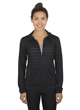 RBX Active womens Ventilated Jacquard Mesh Full Zip Hoodie,Black,Medium