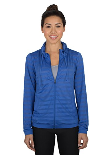 RBX Active womens Ventilated Jacquard Mesh Full Zip Hoodie,Blue,Medium