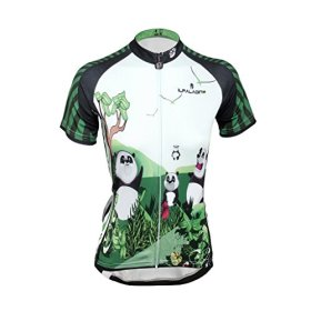 QinYing Panda Printing Short Sleeve Bicycle Cycling Jersey for Women Tag M=US XS