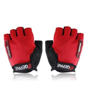 QEPAE ® Non-Slip Gel Pad Gloves Men's Women's Sportswear Cycling Riding Short Half Finger Gloves Breathable -L Red