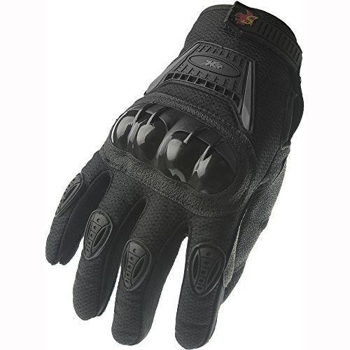 Street Bike Full Finger Motorcycle Gloves 09 (Large, black/silver)