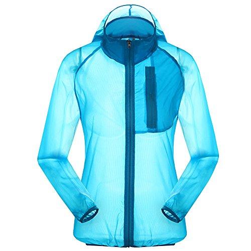 Women's Outdoor Anti UVA UPF 30+ Waterproof Quick-dry Thin Windbreaker Jackets Sapphire Blue CN Tag XL – US M