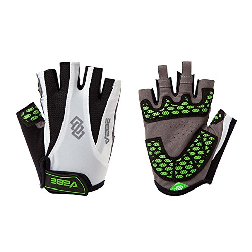 VEBE Men's Half Finger Anti-slip Biking Gloves Cycling Riding For Cross-country Road Sports,Color white,Palm Width about 8-9 CM