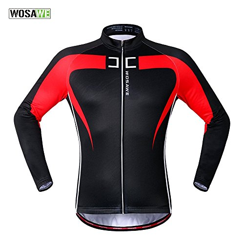 Anhvuu Thermal Fleece Cycling Jersey Shirt Casual Jacket Long Sleeve Black Red Size L