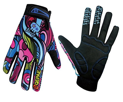 QEPAE® Breathable Cycling Gloves Anti-slip Full Finger Gel Gloves for Bicycle Riding Skiing – Gorgeous Color