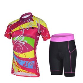 Baleaf Women's Short Sleeve Cycling Jersey 3D Padded and Shorts Set