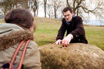 John and Hannah at the boundary stone
