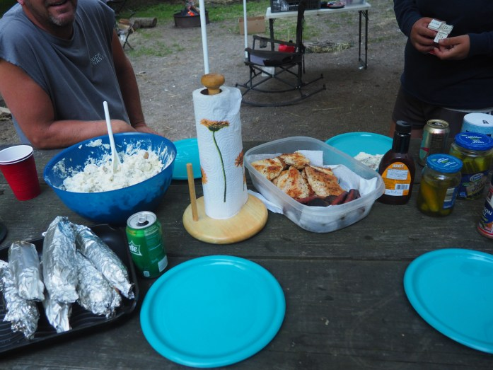 Dinner: chicken, corn, burned to shit burgers, potato salad, pickles, slaw, sodas. Uhhhmazing!