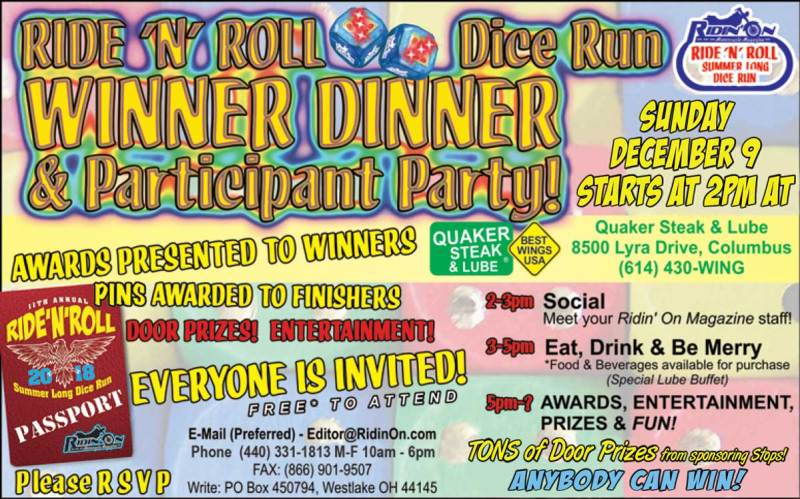 Ride N Roll Winner Dinner Information